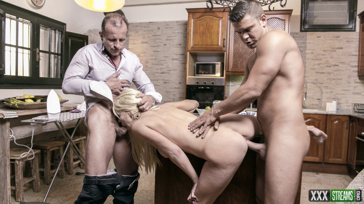 Sienna Day - Horny Housewife Sienna Day Fucks Two Men In the Kitchen (Private)
