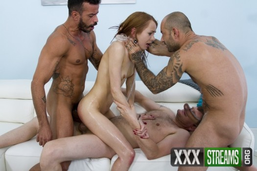 Kate Sottile - Redhead slut Kate Sottile tied up and assfucked by three men SZ1355 (2018/LegalPorno/SD)