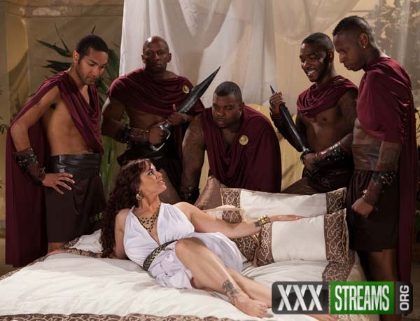 Busty redhead in rough interracial gangbang with creampie-1538
