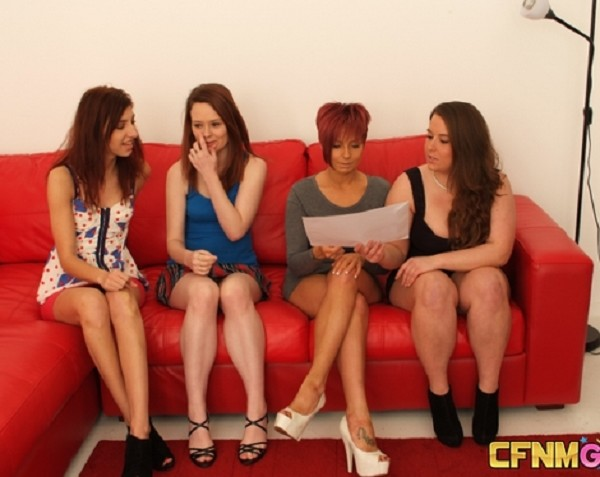 Carly Treanor, Jessie Leigh, Mishka Devlin, Sasha Blue  – Who Cums First? (2018/CFNMGames.com/HD)