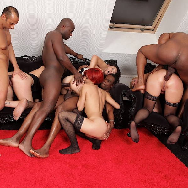 Four Horny Sluts Enjoy In An Interracial Orgy Justswallows 1