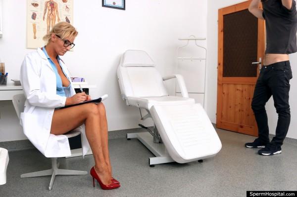 Brigitte M – Hot legs Milf doctor Brigitte eats patient cum (2018/SpermHospital.com/480p)
