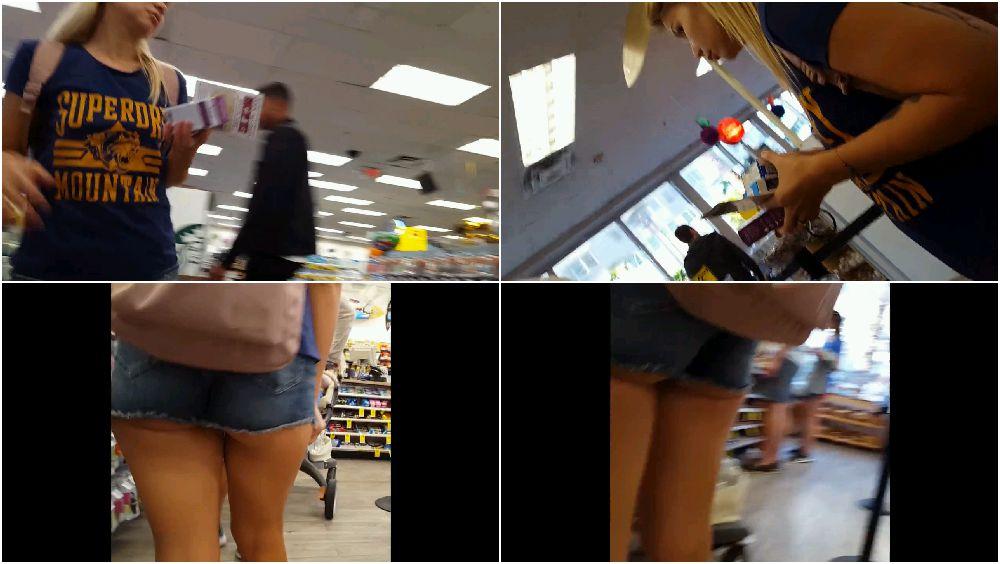 Booty shorts voyeur upskirts