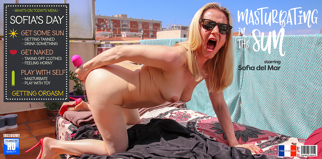 Sofia del Mar (EU) (50) – Mature Sofia del Mar is playing with herself on a balcony in the hot sun (Mature.nl)