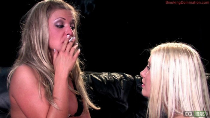 SmokingDomination presents Mistress Karen wood dominates her female slave with her smoke and spit
