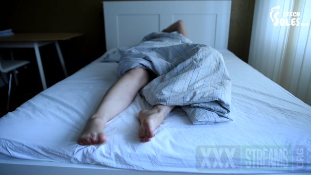 Czech Soles Hard sleeping girl s bare feet in bed.mp4.00010