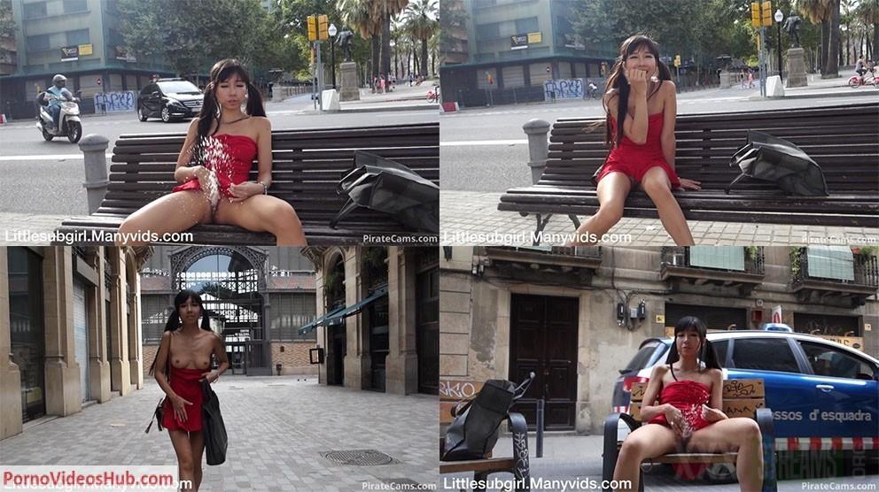 Asian Squirter Soaks Public Street