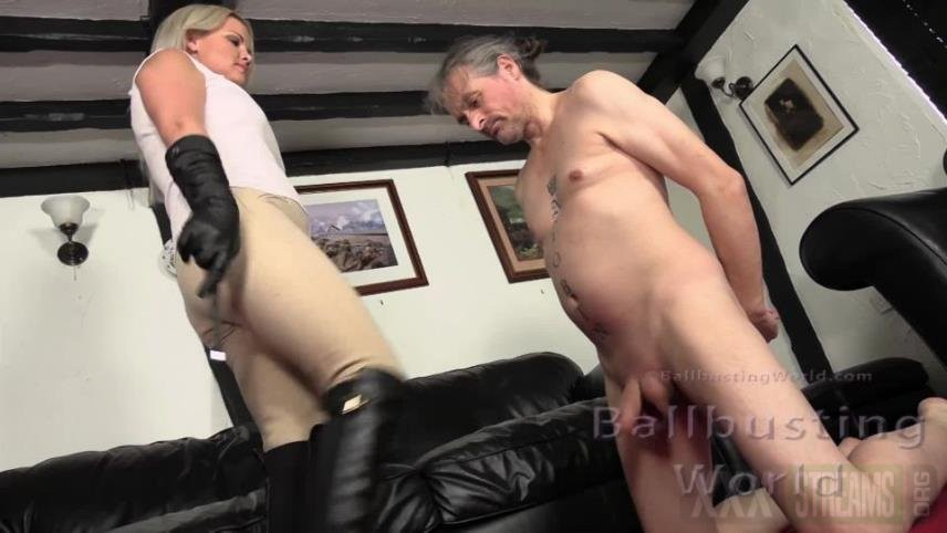 BallbustingWorld – Mistress Frankie – Ballbusted Stablehand – Ball Abuse
