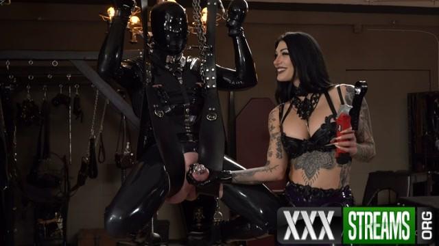 Mistress Damazonia Chastity milking the rubber slave 00001