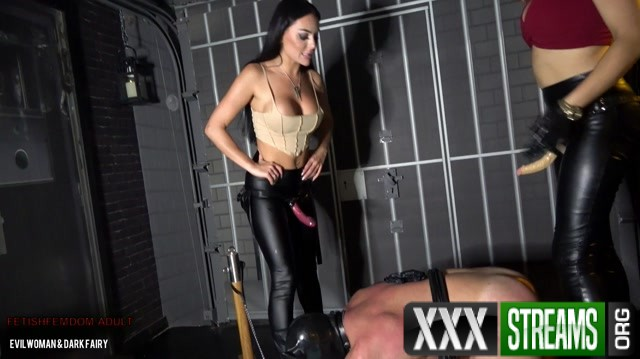 EvilWoman Anal training for piggy slave by 2 Dommes 00012
